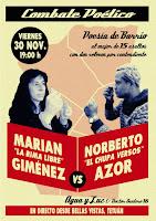 """Combate poético: Marian """"la Rima libre"""" Giménez VS Norberto """"el Chupa versos"""" Azor"""