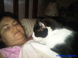 Image Mum asleep, with Mr Bumpy on top of her, watching her very closely.