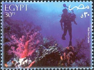 طوابع مصرية عن البحر الاحمر