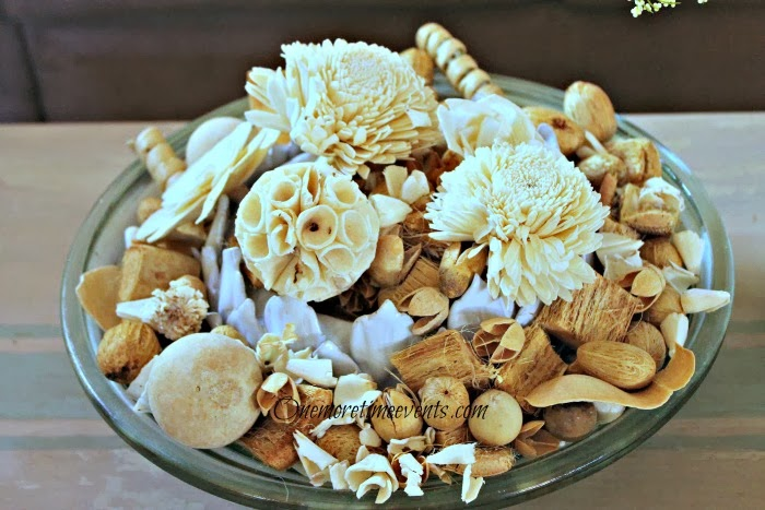 Natural Potpourri centerpiece at One More Time Events.com