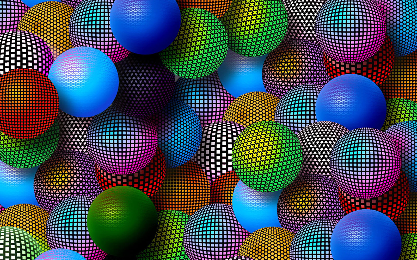 3d mosaic spheres desktop wallpapers