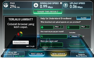Test Speedtest HotRod 3G XL terbaru