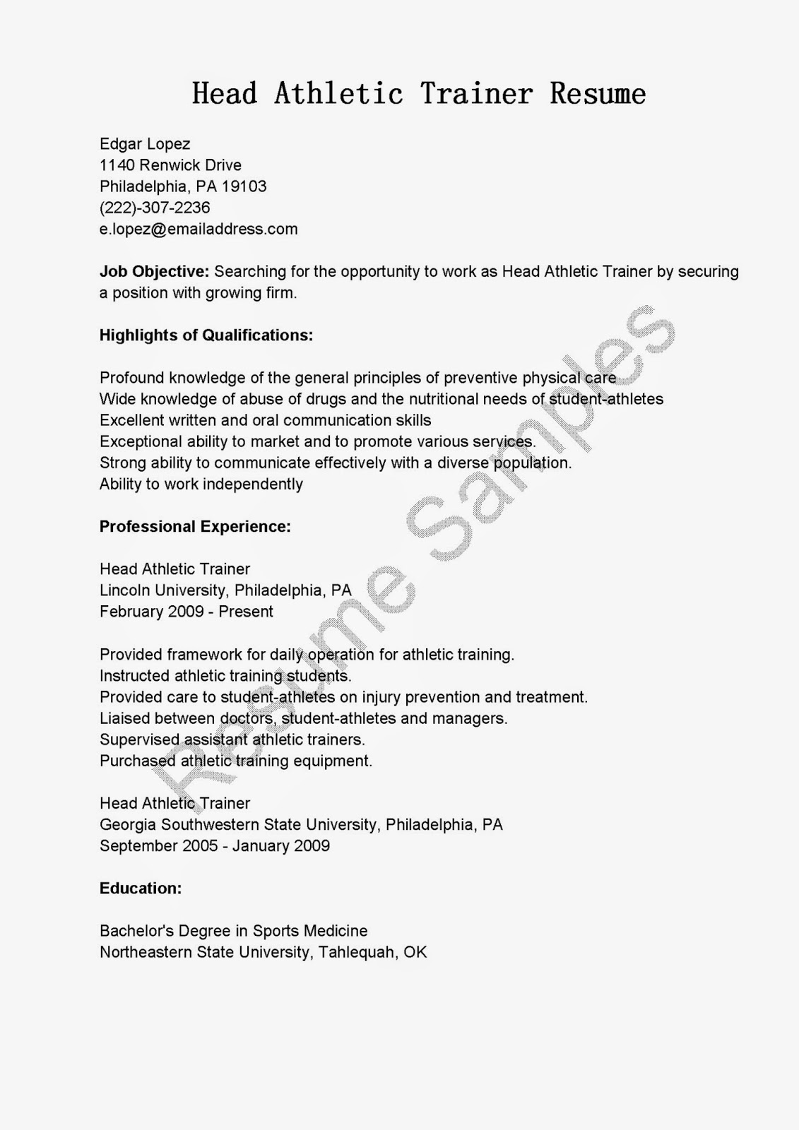 athletic training cover letter They are all softball examples but it will give an idea of the importance of including athletic stats it has 2 cover letter sample athletic resumes and letters.