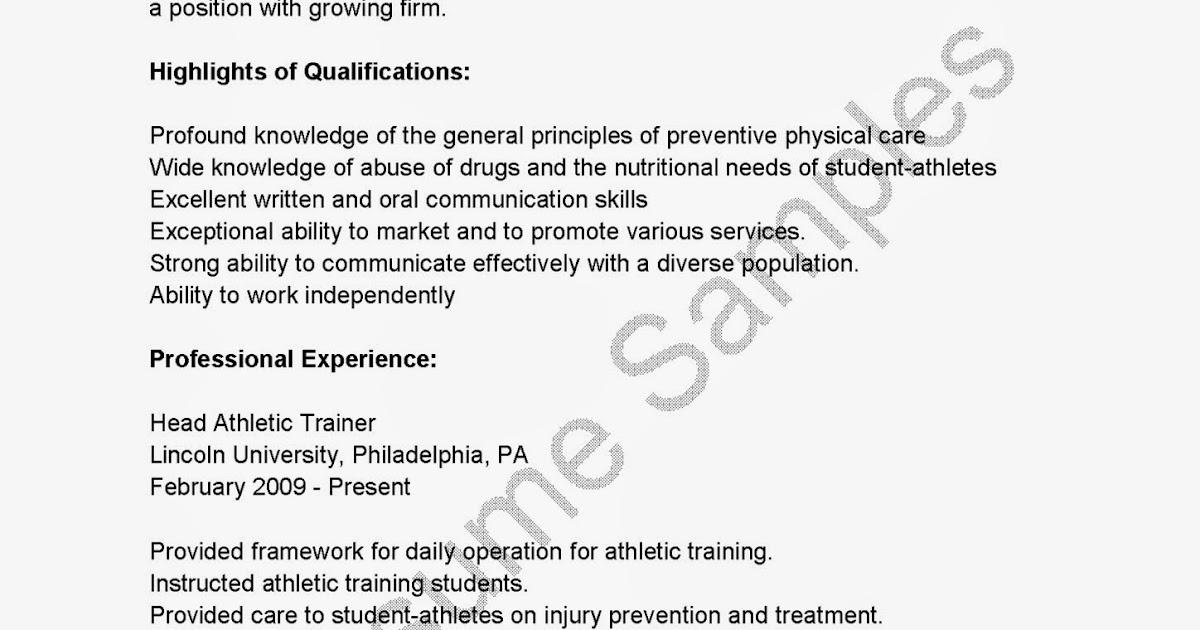 Resume Samples Head Athletic Trainer Resume Sample