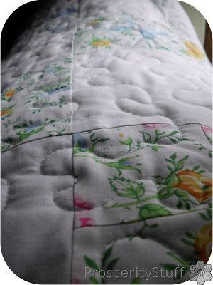 ProsperityStuff Floral Sheet Quilt free motion closeup