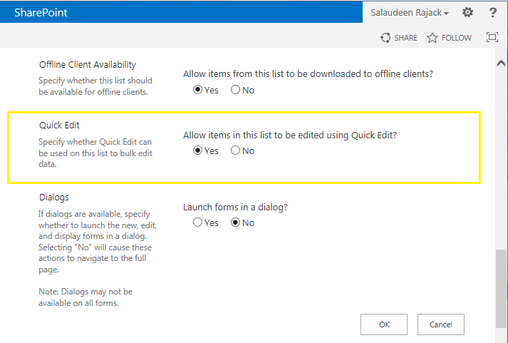 sharepoint 2013 list quick edit disabled