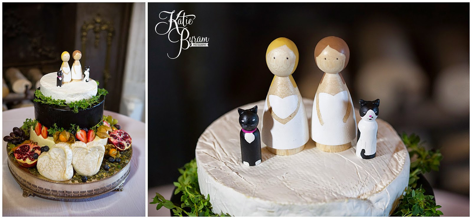churchmouse cheese, cheese wedding cake, wooden cake toppers, matfen hall wedding, matfen hall, northumberland wedding, newcastle united wedding, lesbian wedding, two bride wedding, lgbt wedding, gay wedding, civil partnership, powder and pin ups make up, katie byram photography, bride and bride, two weddiing dresses, mao couture bridal, jean hepple florist,