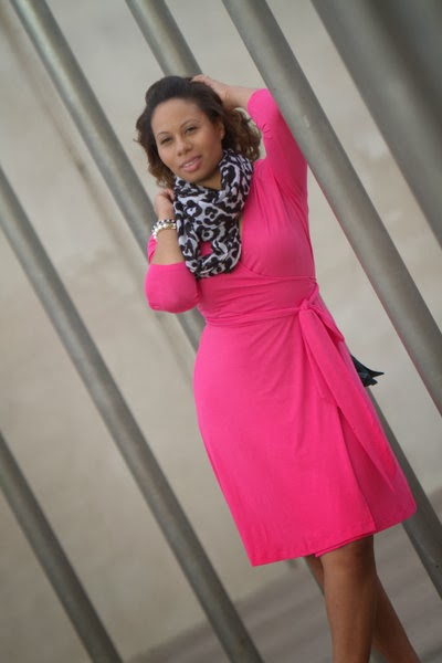 Curvy, Petite Outfit Ideas | Professional and Casual-Chic Fashion and Style Inspiration | Pink Wrap Dress