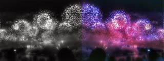 Montagem com foto dos fogos em Copacabana.