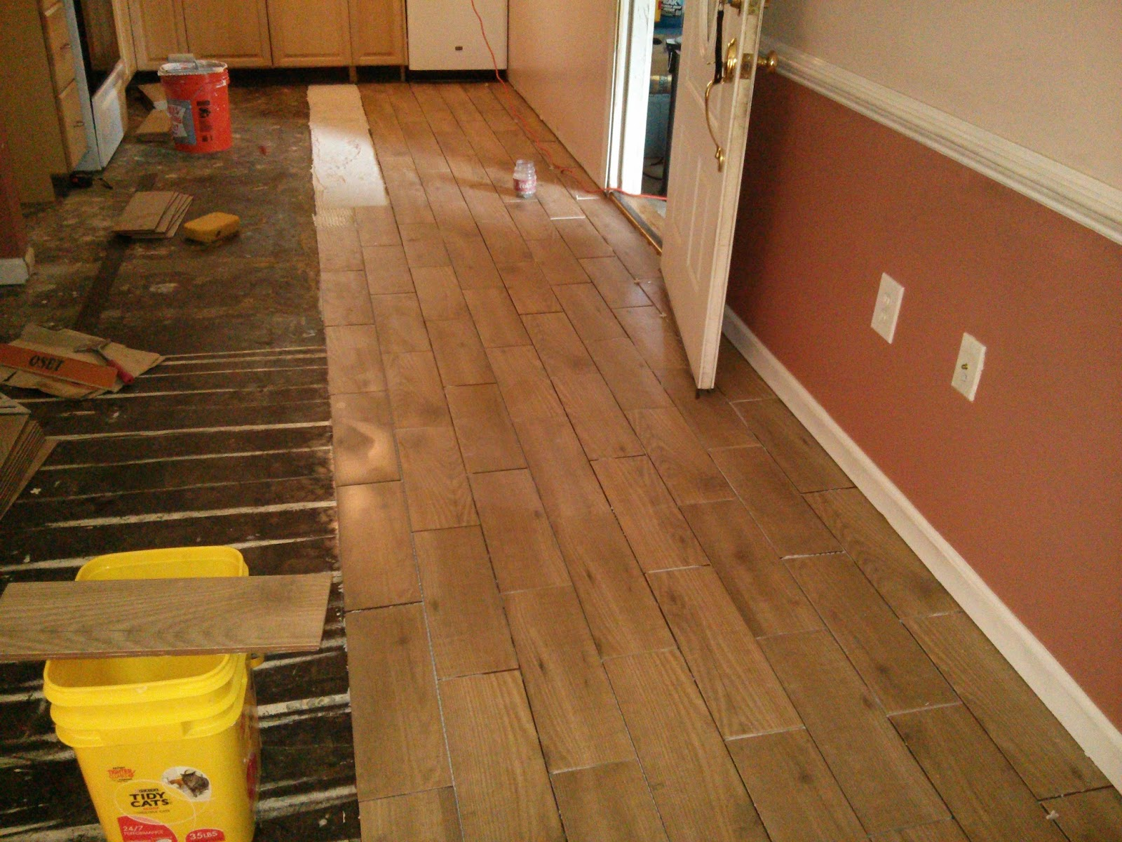 Floor installation photos wood look porcelain tile in for Floor installers