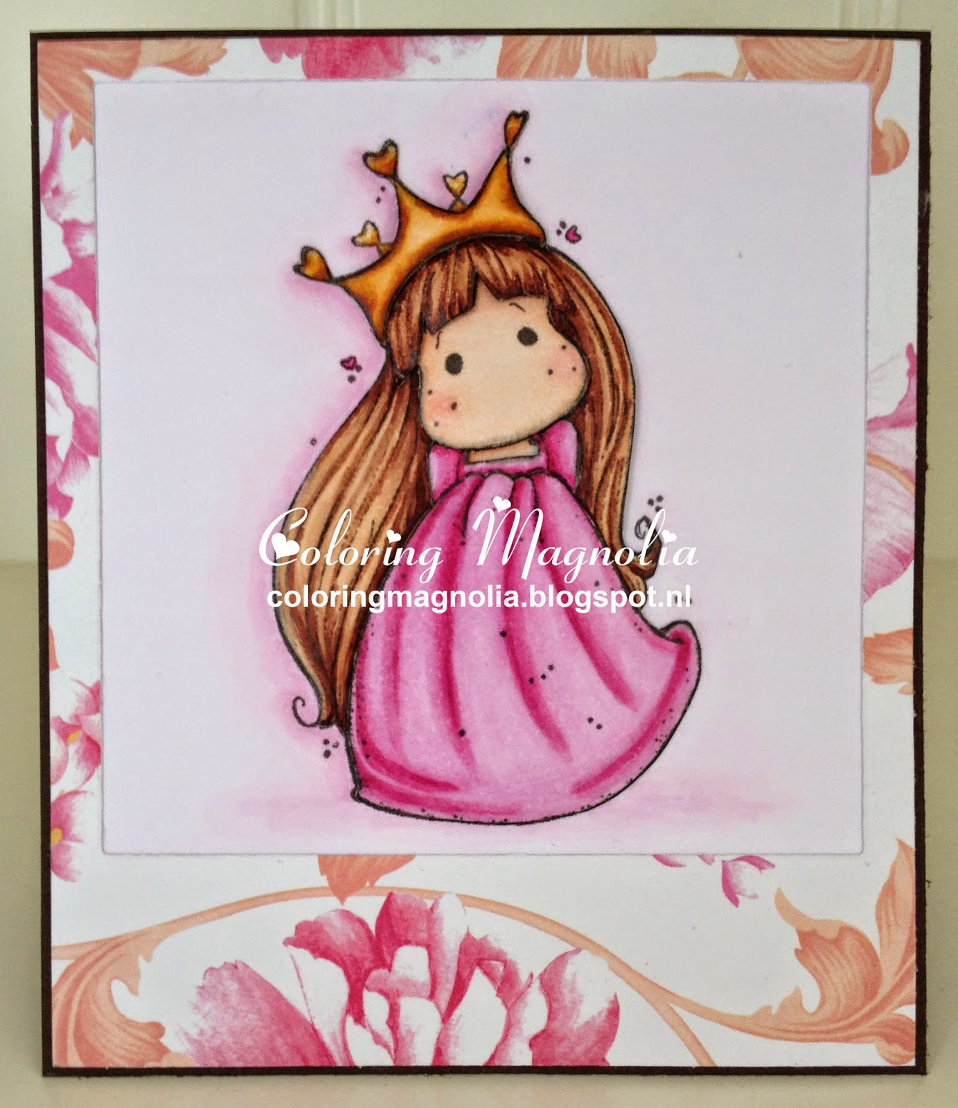 Coloring Magnolia Stamp 2013 Once Upon A Time Collection - Tilda In Cotton Dress - 3D Paper Piecing Card