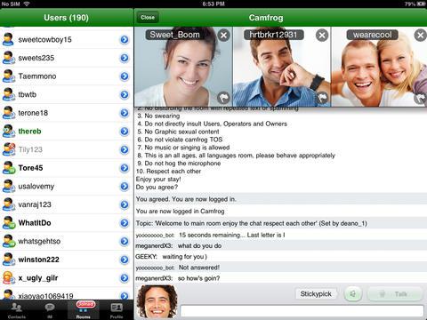 Fitur Camfrog PRO untuk iPad