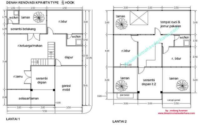 Denah Rumah 2 Lantai Type 21