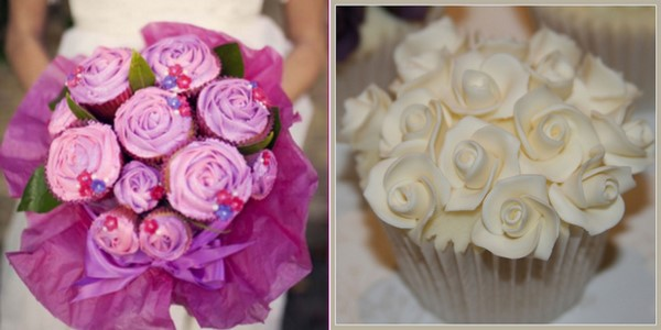 cupcake centerpiece or cupcake bouquet is a practical wedding idea for the bride on a budget