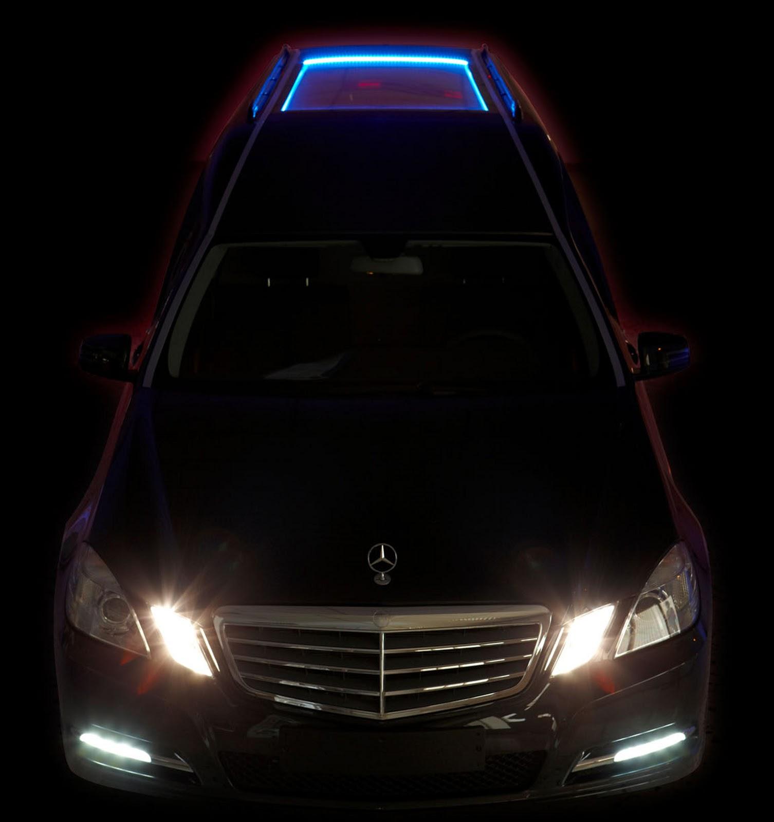 Solaris, véhicule funeraire effet lumières de nuit