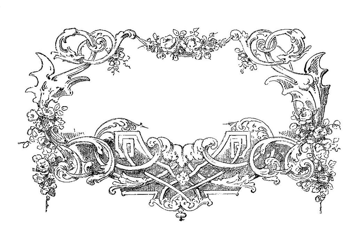 Antique images vintage graphic design black and white frame clip art flowers and scrolls - Design black and white ...