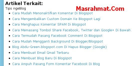 membuat artikel terkait di template blogspot seluler