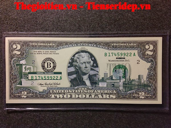 tiền 2 usd in màu