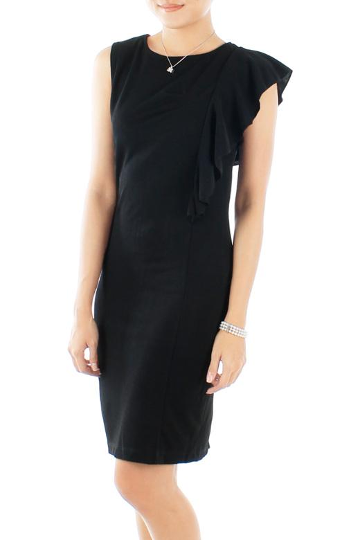Black Theory One-side Flutter Sleeve Dress