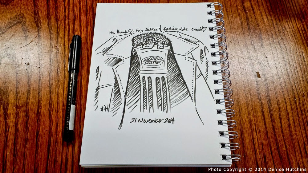 Ink Sketch of Jacket Draped Over Chair