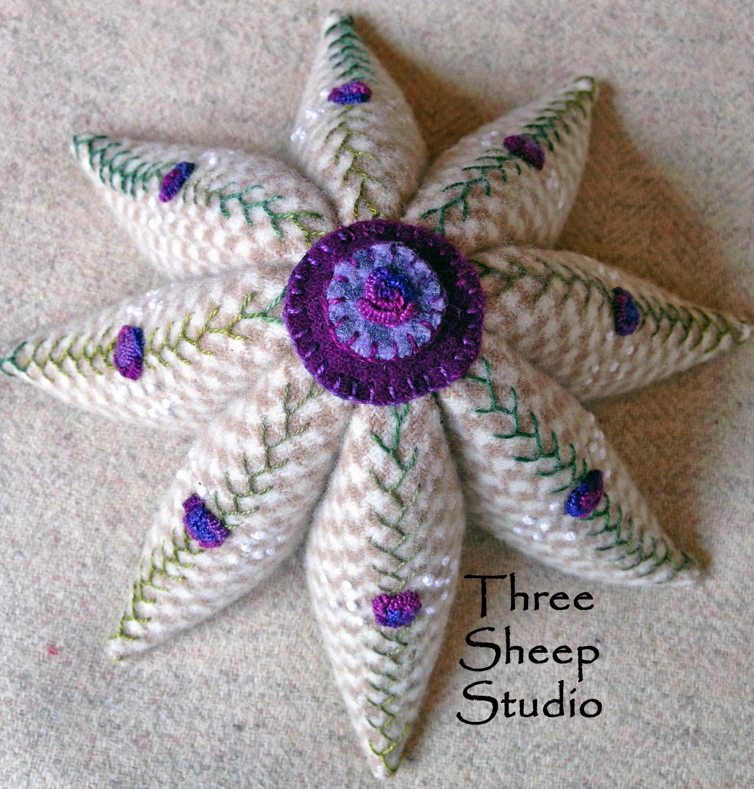 Eight Pointed Civil War Pincushion by Rose Clay at ThreeSheepStudio.com