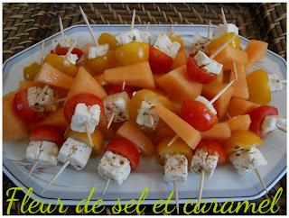 Brochettes melon, feta et tomate cerise