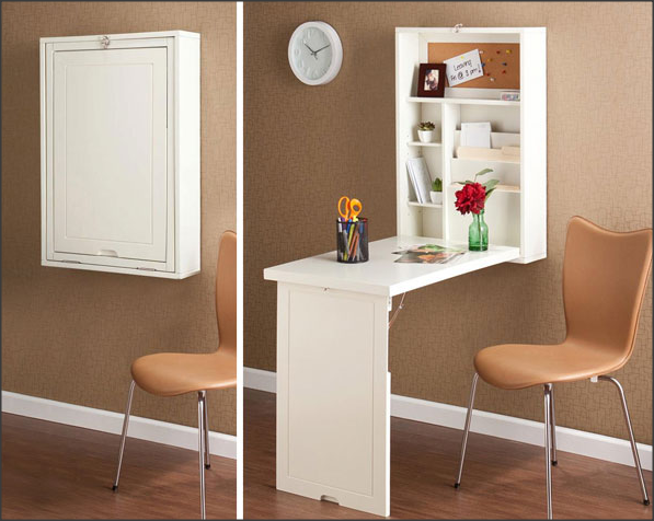 meja makan yang menempel dengan tembok ini sangat minimalis dan tidak memakan banyak ruang