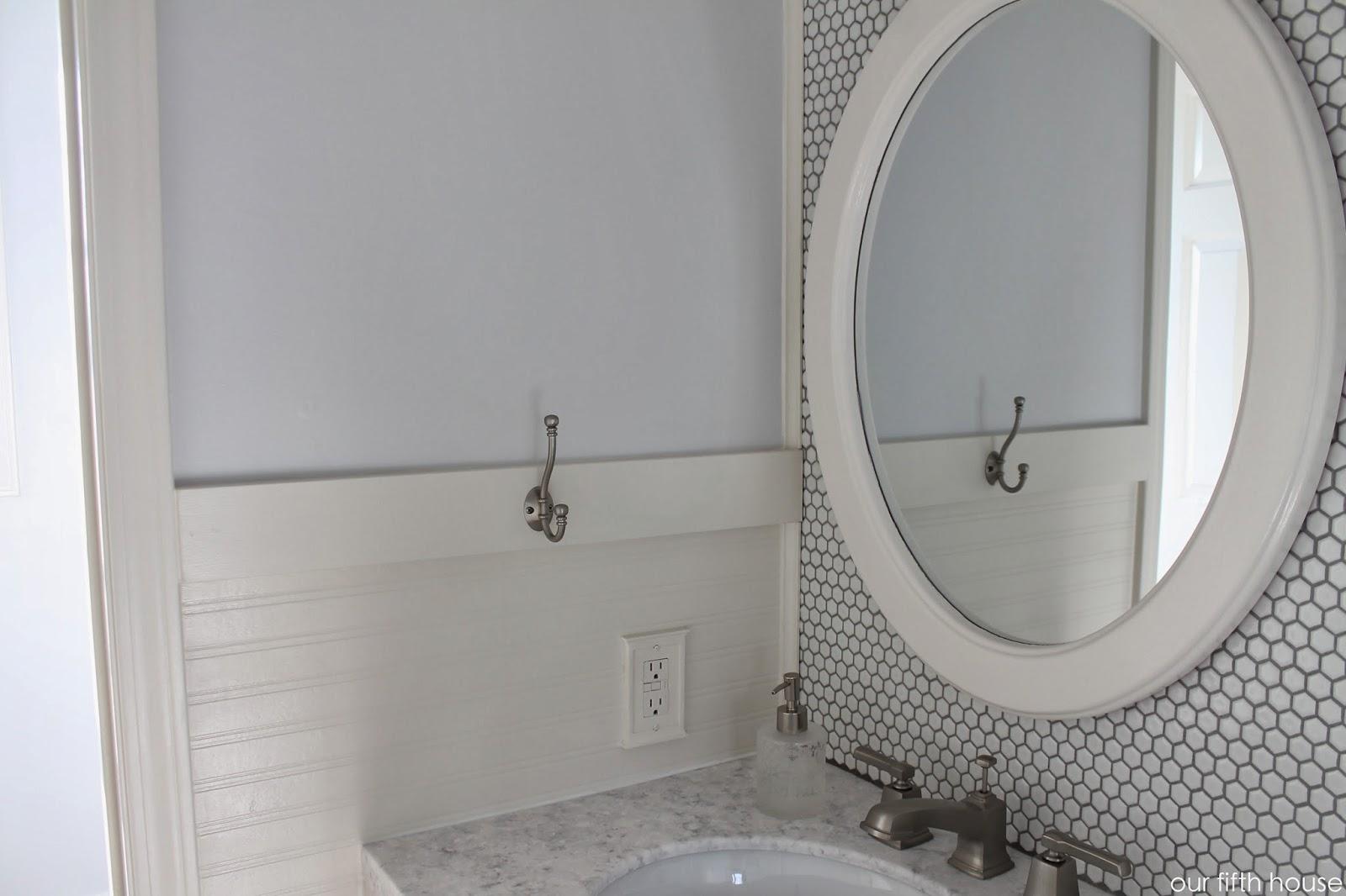 bathroom tile wall, beadboard wall paper and hooks