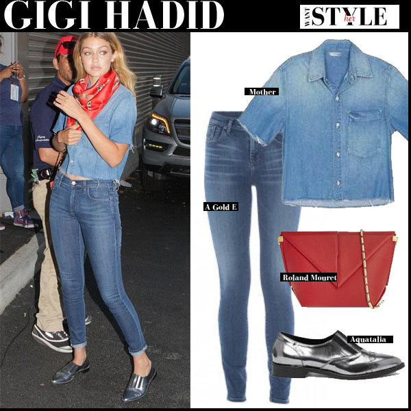 Gigi Hadid in denim crop shirt, skinny jeans and metallic silver loafers streetstyle models off duty
