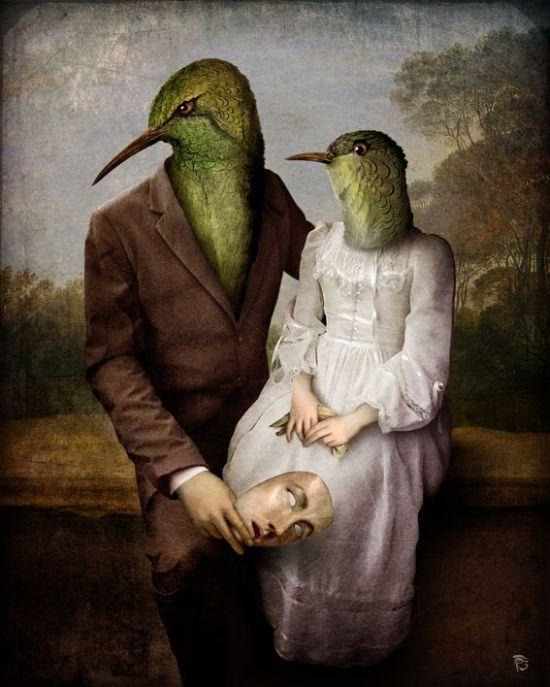 Christian Schloe ilustração digital surreal onírica sonhos Os beija-flores