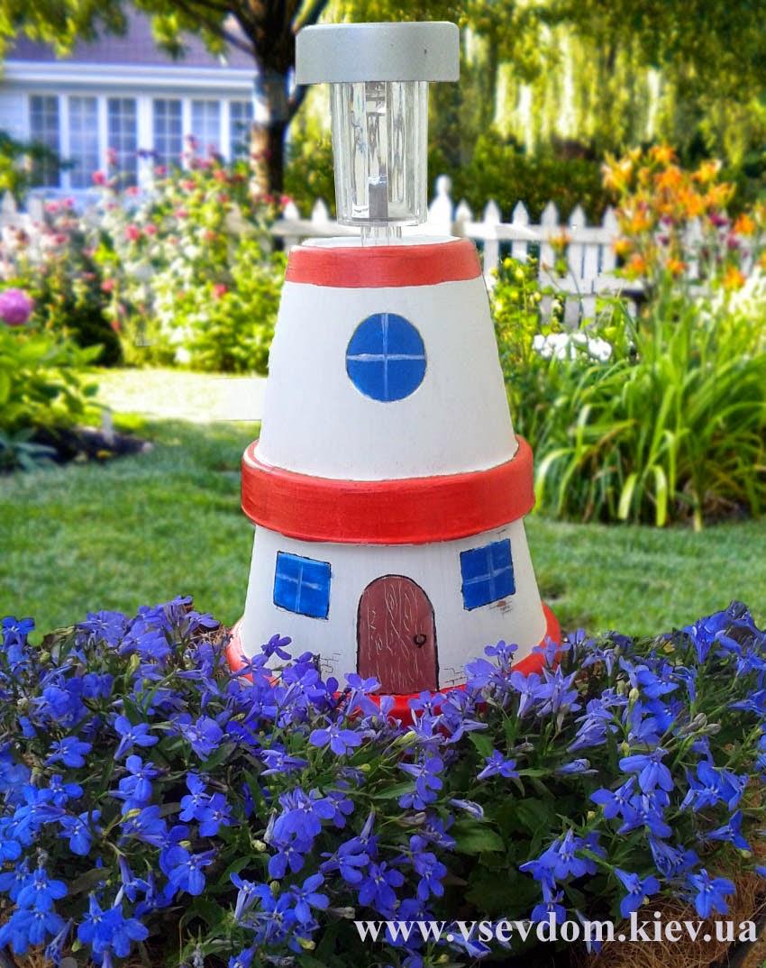 маяк из цветочных горшков