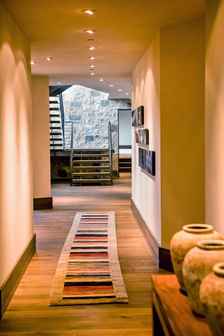 Hallway in Modern mountain house in Aspen, Colorado