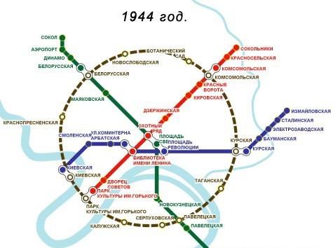 Схема московского метро во времени