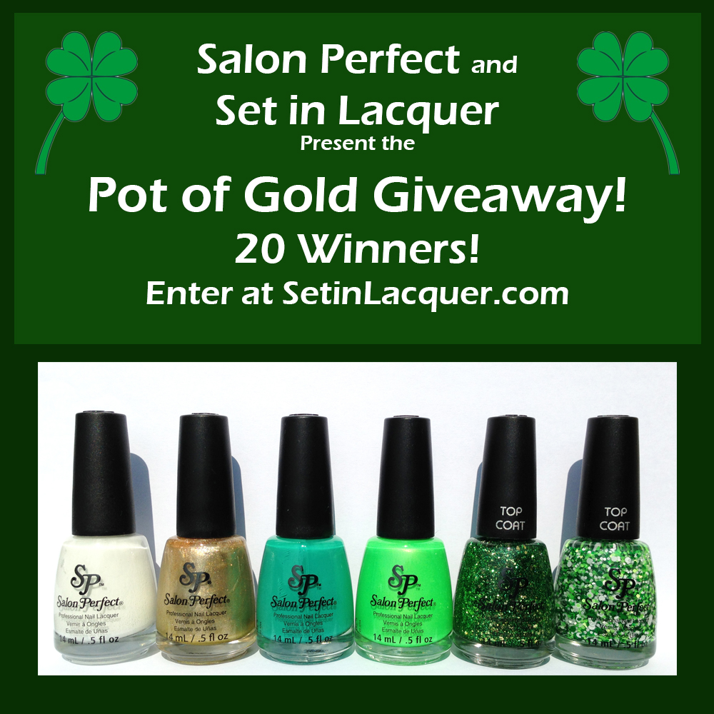 St. Patrick\'s Day nail art created with Salon Perfect - Set in Lacquer