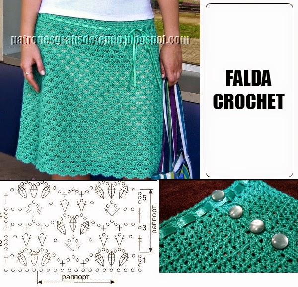 Falda crochet con punto f cil con esquema crochet y - Hacer punto con dos agujas para principiantes ...