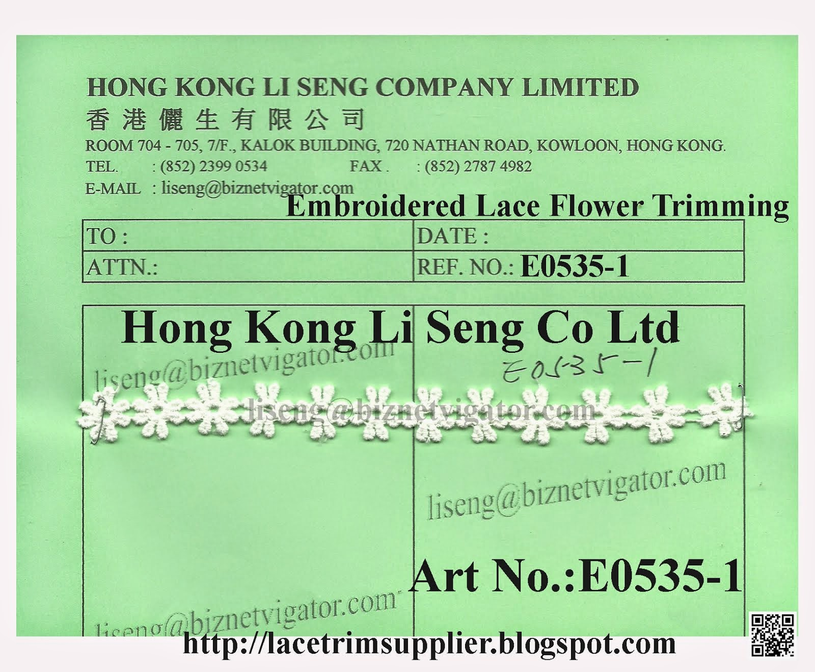 Embroidered Lace Flower Trimming Factory - Hong Kong Li Seng Co Ltd