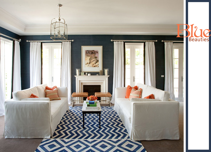 Sybaritic spaces navy rooms yay or nay for Navy blue carpet living room