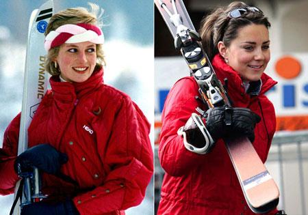 Даяна и Кейт Мидълтън в червен ски костюм
