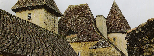 Château de La Bourgonie rooftops, Dordogne Region, French Country Hideaways as seen on linenandlavender.net, post: http://www.linenandlavender.net/2011/04/charmed-im-sure.html