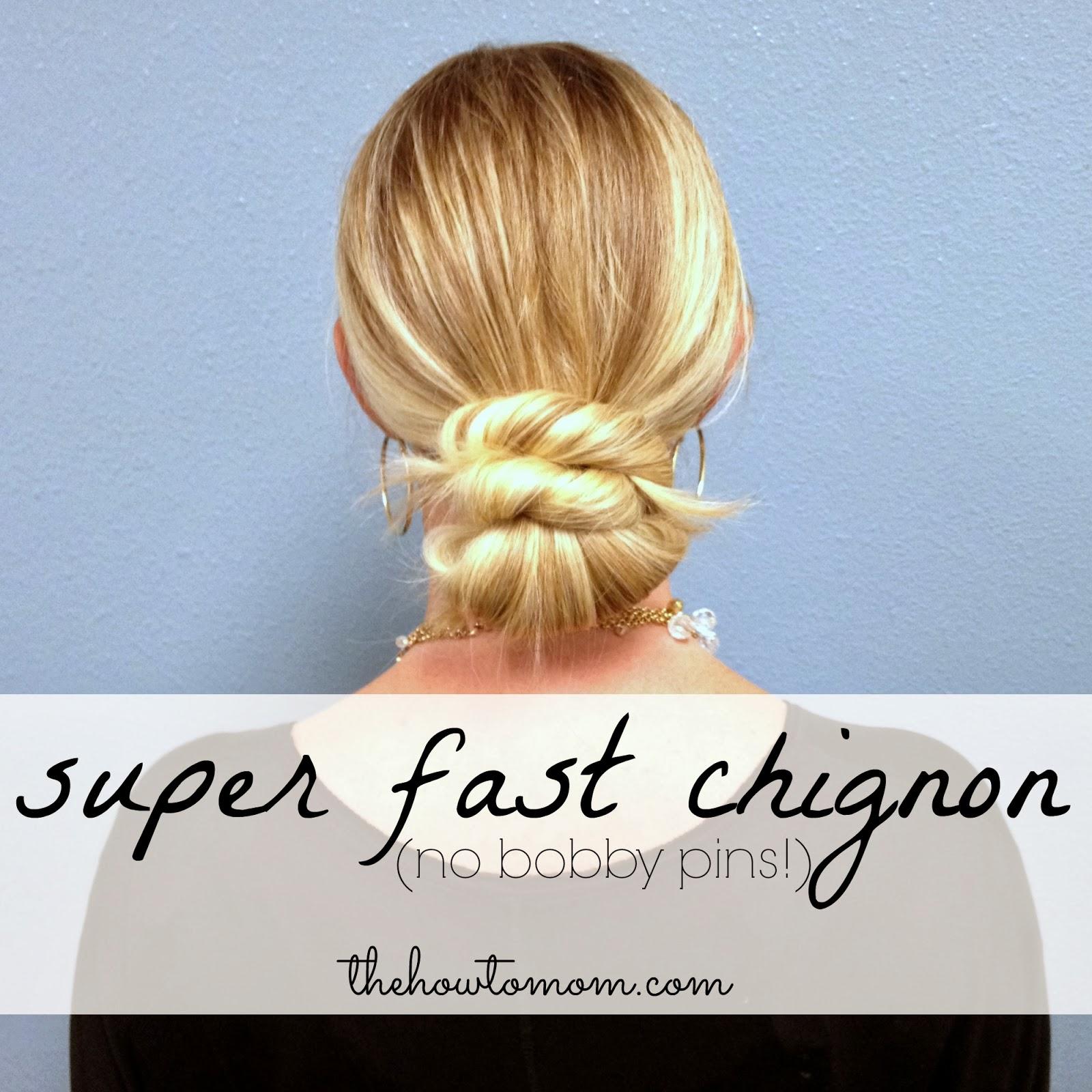 Super Fast Chignon No Bobby Pins The How To Mom