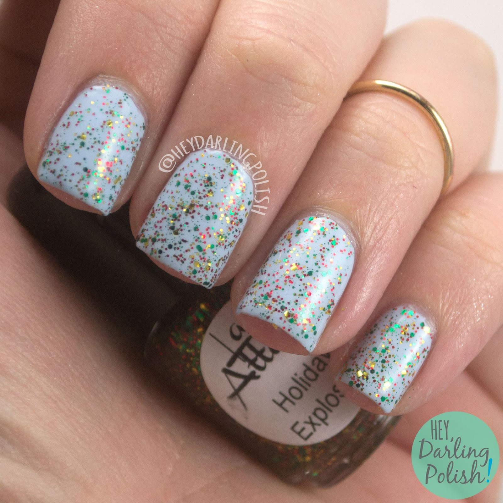 holiday explosion, blue, glitter, red, green, gold, holiday, nails, nail polish, indie nail polish, indie polish, lac attack, festivus collection, christmas, holiday, hey darling polish, swatch, review