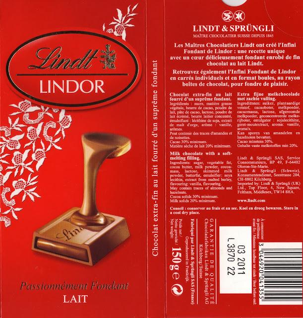 tablette de chocolat lait fourré lindt lindor lait