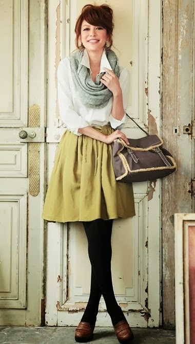 Cute fall look with scarf, skirt and sleeve shirt