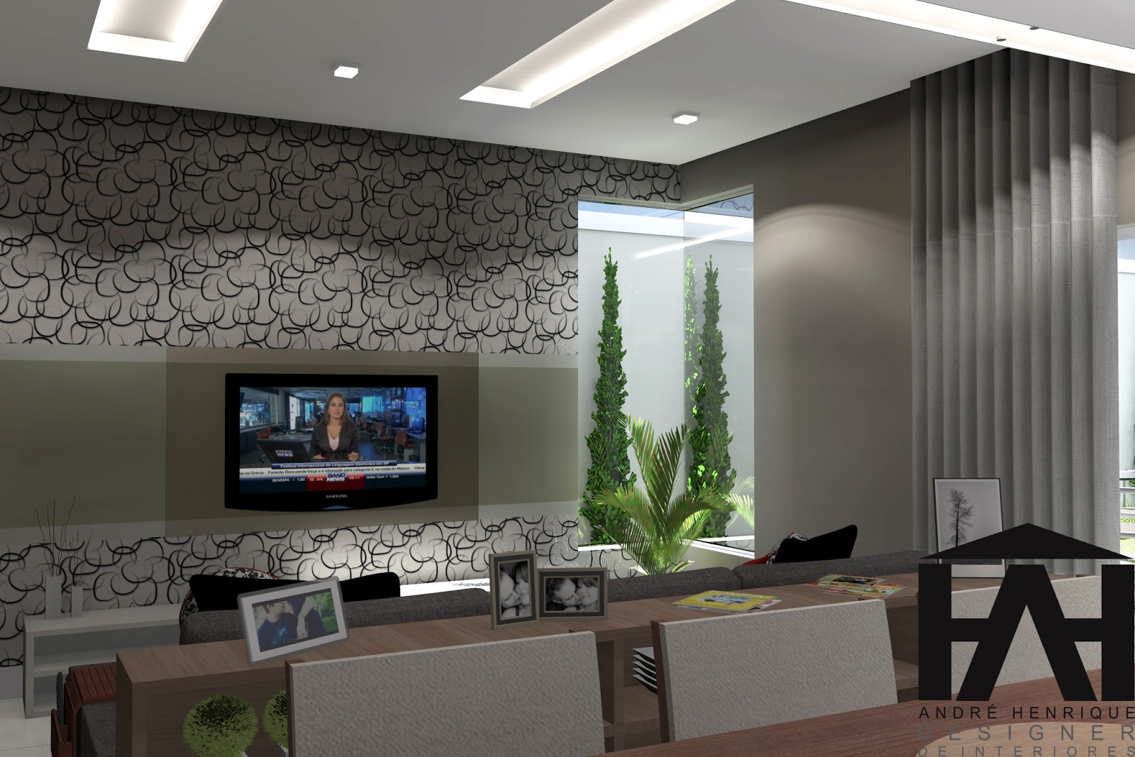 de Interiores : Projeto Residencial ! sala cozinha e sala de  #334764 1600 1067
