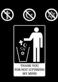 religion, litter, bin, symbols, god, atheist