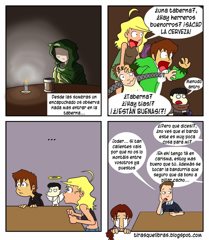 webcomic ye lo que hay, el grupo llega a una taberna