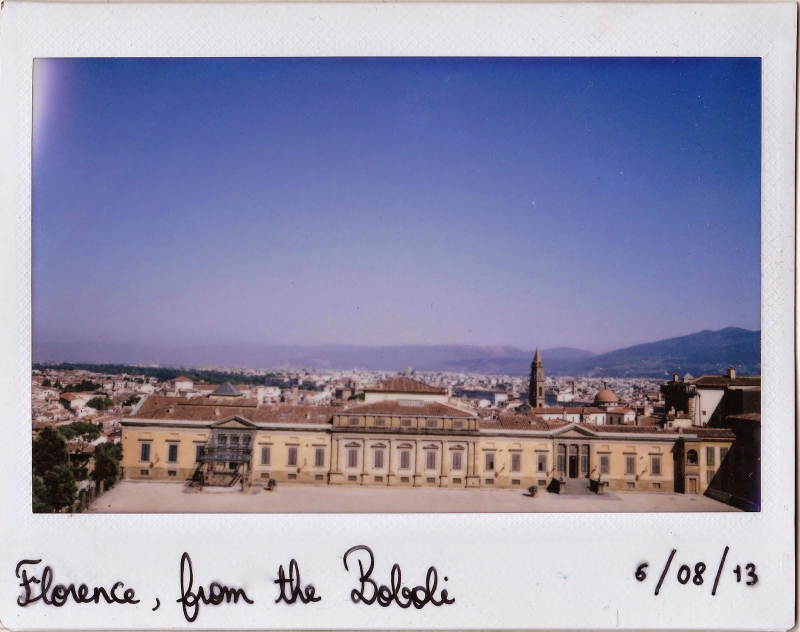 Polaroid of Florence, Boboli Gardens