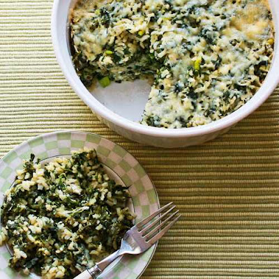 Spinach and Feta Casserole with Brown Rice and Parmesan [KalynsKitchen.com]