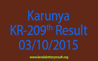 Karunya KR 209 Lottery Result 3-10-2015