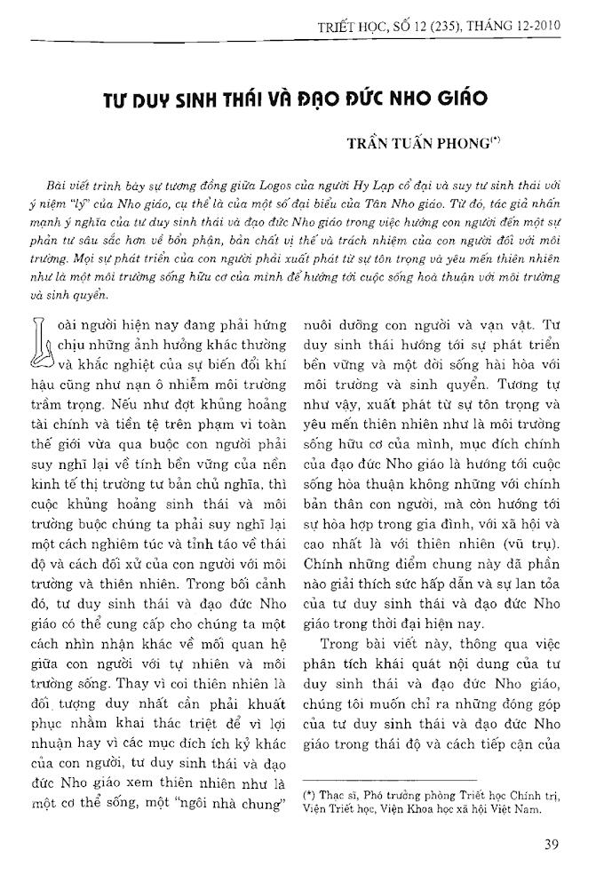 Trần Tuấn Phong - Tư duy sinh thái và đạo đức Nho giáo